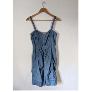 Anthropologie Chambray Button Front Dress